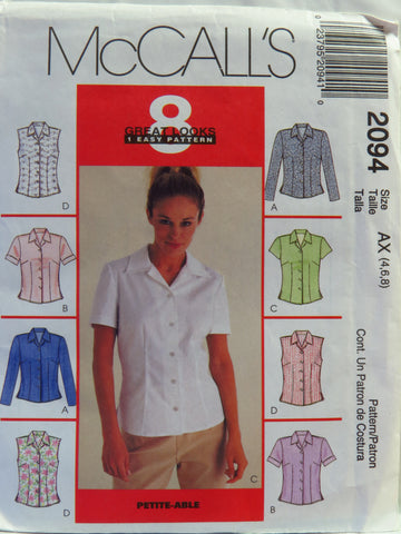 McCall's 2094 Misses' Tops - AX (4-6-8) - Smiths Depot Sewing Pattern Superstore