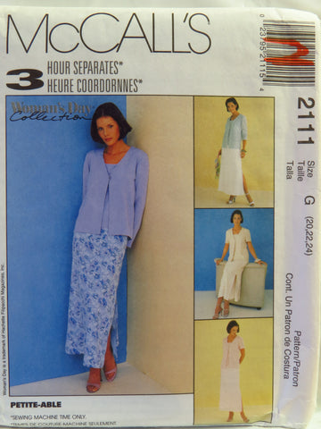 McCall's 2111 Misses' Cardigan, Top and Skirt - G (20-22-24) - Smiths Depot Sewing Pattern Superstore