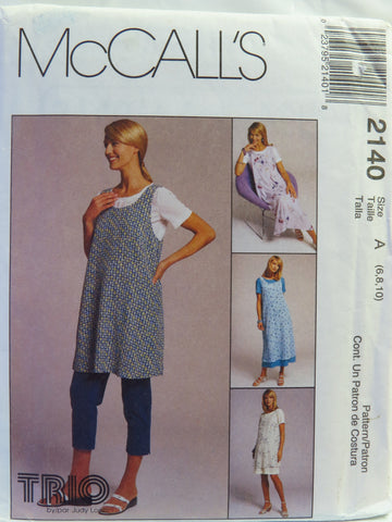 McCall's 2140 Maternity Dress or Top in Two Lengths, Jumper in Two Lengths and Pull-On Pants - A (6-8-10) - Smiths Depot Sewing Pattern Superstore