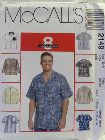 McCall's 2149 Men's Shirts - Large (42-44) - Smiths Depot Sewing Pattern Superstore  - 1