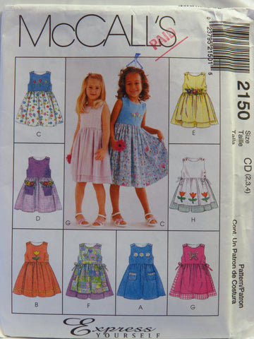 McCall's 2150 Children's and Girls' Dresses - CD (2-3-4) - Smiths Depot Sewing Pattern Superstore