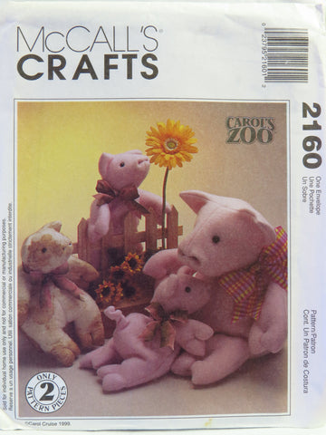 McCall's 2160 Pig and Piglets Stuffed Animals -  - Smiths Depot Sewing Pattern Superstore
