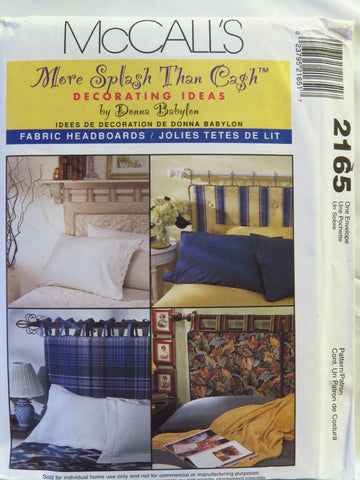 McCall's 2165 Fabric Headboards -  - Smiths Depot Sewing Pattern Superstore