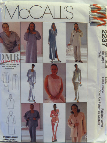 McCall's 2237 Misses' Hooded Lounger in Two Lengths, Cardigan, Tank Top and Pull-On Pants - Ex-Large (20-22) - Smiths Depot Sewing Pattern Superstore