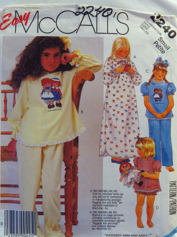 McCall's 2240 Children's and Girls' Raggedy Ann and Andy™ Nightgown, Pajamas with Permanent Multi-Color Transfer - Small (4-6) - Smiths Depot Sewing Pattern Superstore