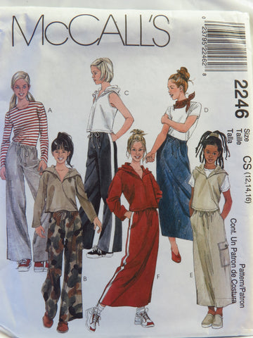 McCall's 2246 Girls Hooded Top, Pull-on Pants and Skirt - CS (12-14-16) - Smiths Depot Sewing Pattern Superstore