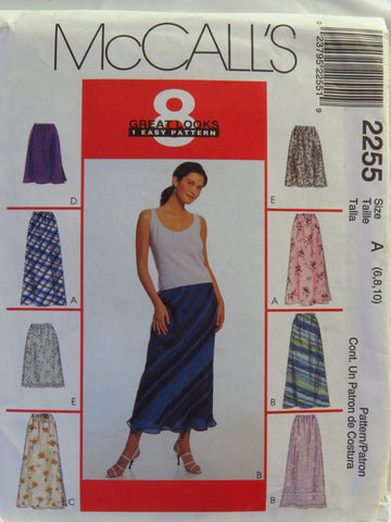 McCall's 2255 Misses' Pull-On Bias Skirt in Two Lengths - A (6-8-10) - Smiths Depot Sewing Pattern Superstore