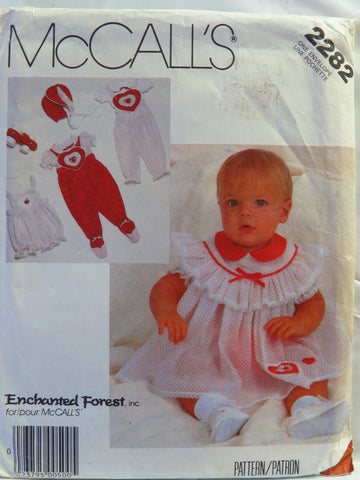 McCall's 2282 Infants' Blouse, Jumpsuit, Dress, Panties and Bonnet - NB-SML-MED - Smiths Depot Sewing Pattern Superstore