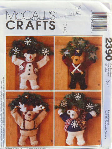 McCall's 2390 Warm Fuzzy Winter Bear Wreaths -  - Smiths Depot Sewing Pattern Superstore