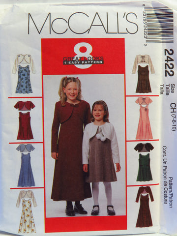 McCall's 2422 Children's and Girls' Dress in Two Lengths and Lined Bolero Jacket - CH (7-8-10) - Smiths Depot Sewing Pattern Superstore