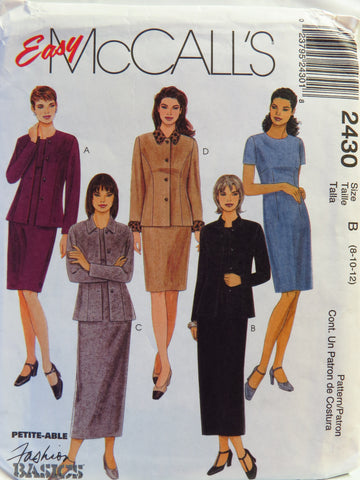 McCall's 2430 Misses' Unlined Jacket and Dress in Two Lengths - B (8-10-12) - Smiths Depot Sewing Pattern Superstore  - 1