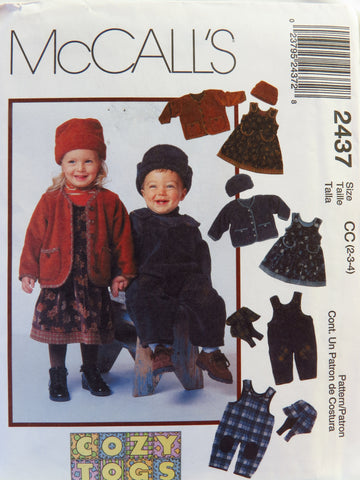 McCall's 2437 Toddlers' Jumper, Jacket and Hat or Overalls with Reversible Hat - CC (2-3-4) - Smiths Depot Sewing Pattern Superstore