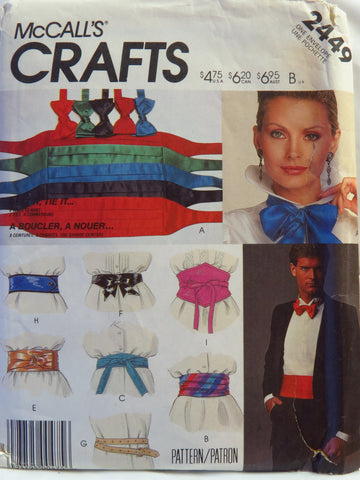 McCall's 2449 Belt and Tie Package -  - Smiths Depot Sewing Pattern Superstore