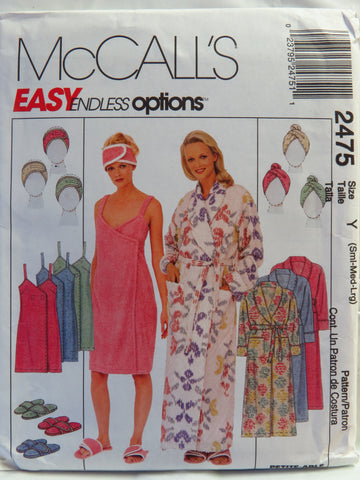 McCall's 2475 Misses' Robe, Spa Wrap, Headband, Headwrap and Slippers - Y (Sml-Med-Lrg) - Smiths Depot Sewing Pattern Superstore  - 1