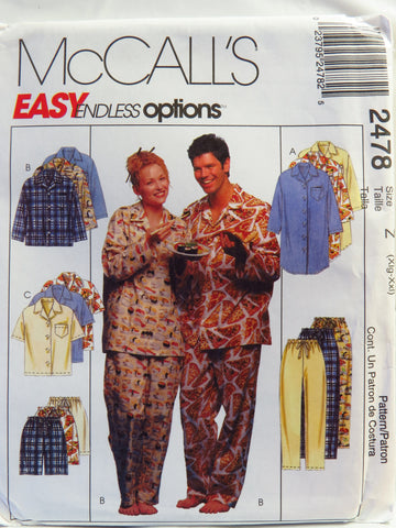 McCall's 2478 Misses', Men's or Teen Boys' nightshirt or Top, Pull-On Pants or Shorts - Z (XLG-XXL) - Smiths Depot Sewing Pattern Superstore