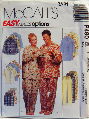 McCall's 0490 Misses', Men's or Teen Boys' nightshirt or Top, Pull-On Pants or Shorts - Y (S-M-L) - Smiths Depot Sewing Pattern Superstore