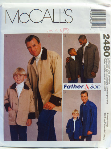 McCall's 2480 Men's, Children's and Boys' Unlined Jacket -  - Smiths Depot Sewing Pattern Superstore