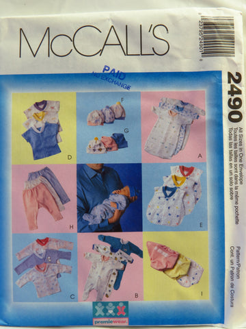 McCall's 2490 Preemie and Infants Layette -  - Smiths Depot Sewing Pattern Superstore