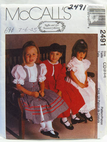 McCall's 2491 Children's and Girls' Lined Jacket, Pinafore and Dress - CD (2-3-4) - Smiths Depot Sewing Pattern Superstore