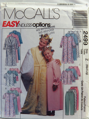McCall's 2499 Children's and Girls' Robe, Nightgown, Top and Pull-On Pants - Z (MED-LRG) - Smiths Depot Sewing Pattern Superstore