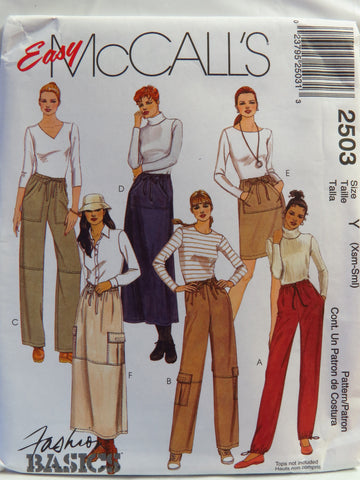 McCall's 2503 Misses' Pull-On Pants and Pull-On Skirt in Two Lengths - Y (XSM-SML) - Smiths Depot Sewing Pattern Superstore