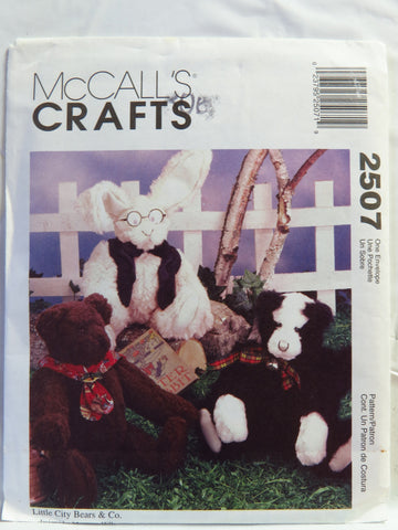 "McCall's 2507 13"" Cat, Bear or Bunny -  - Smiths Depot Sewing Pattern Superstore"
