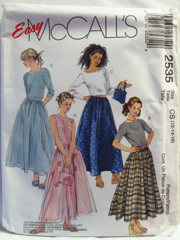 McCall's 2535 Girls' Tops, Skirt and Bag - CS (12-14-16) - Smiths Depot Sewing Pattern Superstore