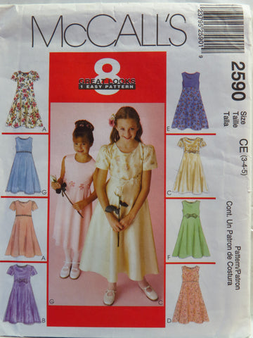 McCall's 2590 Children's and Girls' Dress - CE (3-4-5) - Smiths Depot Sewing Pattern Superstore  - 1