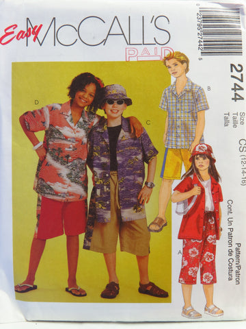 McCall's 2744 Boys' and Girls' Shirt, Shorts in Two Lengths and Hat in Two Sizes - CS (12-14-16) - Smiths Depot Sewing Pattern Superstore