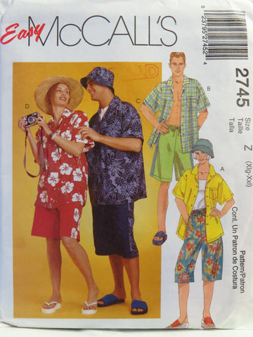 McCall's 2745 Misses', Men's and Teen Boy's Shirt, Shorts in Two Lengths and Hat in Two Sizes - Z (XLG-XXL) - Smiths Depot Sewing Pattern Superstore