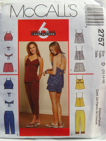 McCall's 2757 Misses' Tops, Capri Pants and Shorts - D (12-14-16) - Smiths Depot Sewing Pattern Superstore