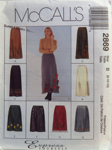 McCall's 2869 Misses' Skirts in Two Lengths - B (8-10-12) - Smiths Depot Sewing Pattern Superstore