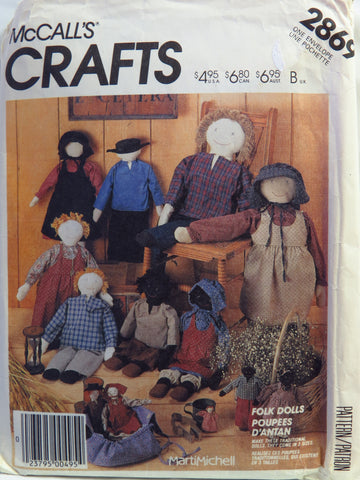 McCall's 2869 Folk Dolls and Clothes -  - Smiths Depot Sewing Pattern Superstore