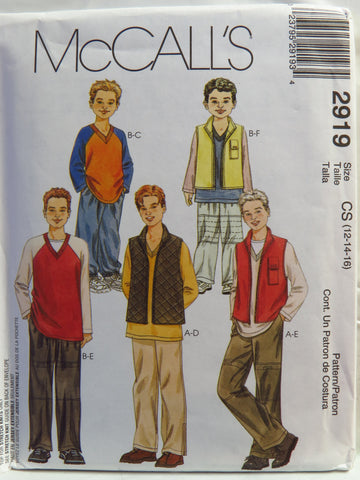 McCall's 2919 Children's and Boys' Vest, Top and Pull-On Pants - CS (12-14-16) - Smiths Depot Sewing Pattern Superstore