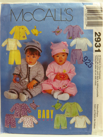 McCall's 2931 Infants' Jacket, Top, Pull-On Pants and Hat - 13lbs-24lbs - Smiths Depot Sewing Pattern Superstore