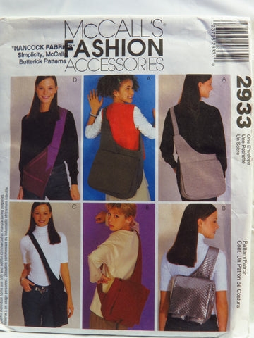McCall's 2933 Fashion Accessories -  - Smiths Depot Sewing Pattern Superstore