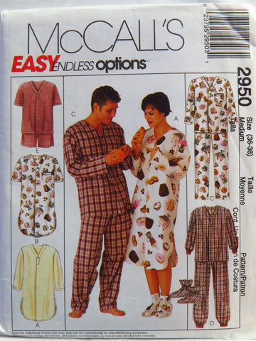 McCall's 2950 Misses', Men's and Teen Boys' Sleepwear, Hat and Bootees - Med (36-38) - Smiths Depot Sewing Pattern Superstore  - 1