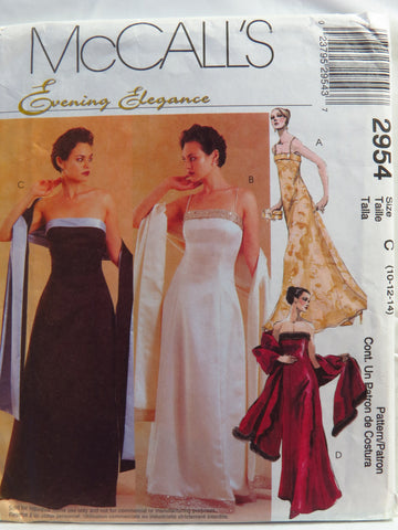 McCall's 2954 Misses' and Miss Petite Lined Dress and Stole - C (10-12-14) - Smiths Depot Sewing Pattern Superstore