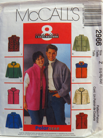 McCall's 2966 Misses', Men's and Teen Boys' Unlined Jacket or Vest - Z (LRG-XLG-XXL) - Smiths Depot Sewing Pattern Superstore