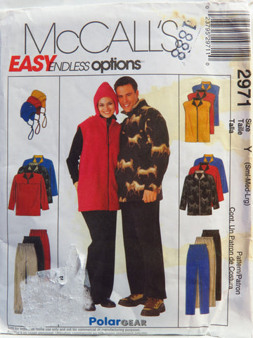 McCall's 2971 Misses', Men's and Teen Boys' Unlined Jacket or Vest, Top, Pull-On Pants and Hat - Y (SML-MED-LRG) - Smiths Depot Sewing Pattern Superstore