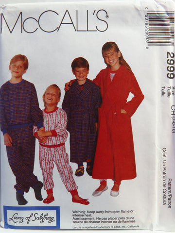 McCall's 2999 Children's, Boys' and Girls' Robe with Tie Belt, Pullover Pajama Top and Pajama Pants - CH (7-8-10) - Smiths Depot Sewing Pattern Superstore  - 1