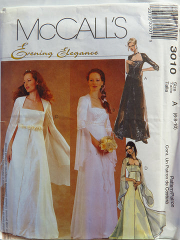 McCall's 3010 Misses' and Miss Petite Lined Bridal Gown and Bridesmaids Dress - A (6-8-10) - Smiths Depot Sewing Pattern Superstore