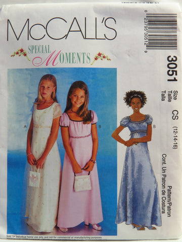McCall's 3051 Girls' Dress - Cs (12-14-16) - Smiths Depot Sewing Pattern Superstore