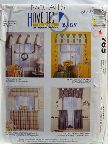 McCall's 0765 Babies' Nursery Window Treatments -  - Smiths Depot Sewing Pattern Superstore