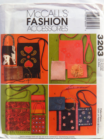 McCall's 3203 Fashion Bags -  - Smiths Depot Sewing Pattern Superstore