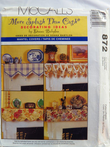 McCall's 0872 Mantel Covers -  - Smiths Depot Sewing Pattern Superstore