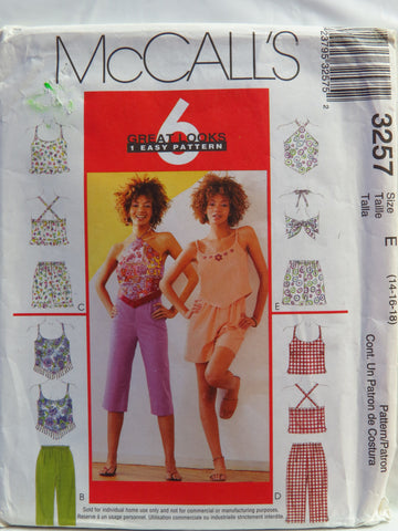 McCall's 3257 Misses' Tops, Pull-On Capri Pants or Shorts - E (14-16-18) - Smiths Depot Sewing Pattern Superstore