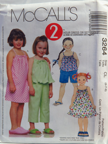 McCall's 3264 Children's and Girls' Dress, Top, Pull-On Capri Pants and Shorts - CL (6-7-8) - Smiths Depot Sewing Pattern Superstore