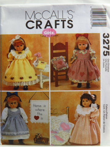 "McCall's 3275 18"" Doll Clothes and Craft Projects -  - Smiths Depot Sewing Pattern Superstore"