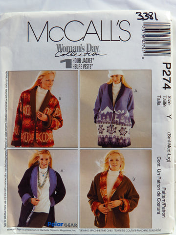 McCall's 0274 Misses' and Miss Petite Reversible Jacket in Two Lengths - Y (Sml-Med-Lrg) - Smiths Depot Sewing Pattern Superstore